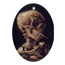 Van Gogh Skull Oval Ornament