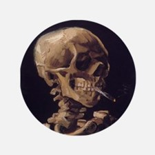 "Van Gogh Skull 3.5"" Button"