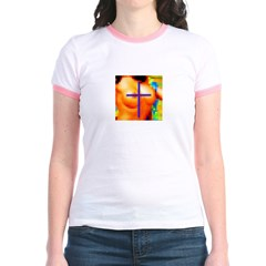Sexy Pixelation Crossed on Jr. Ringer T-Shirt