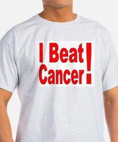 I Beat Cancer (Front) Ash Grey T-Shirt