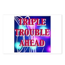 TRIPLE TROUBLE AHEAD Postcards (Package of 8)