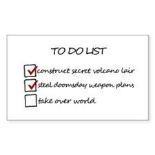 Supervillain To Do List Rectangle Decal