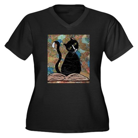 Emerson Women's Plus Size V-Neck Dark T-Shirt