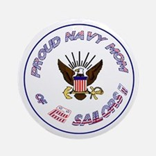 Proud Navy Mom Ornament (Round)