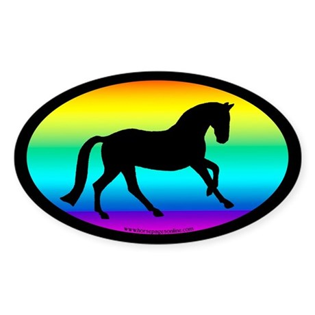 Canter Horse Rainbow Oval Oval Sticker