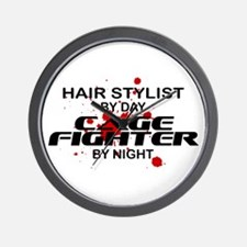 Hair Stylist Cage Fighter by Night Wall Clock