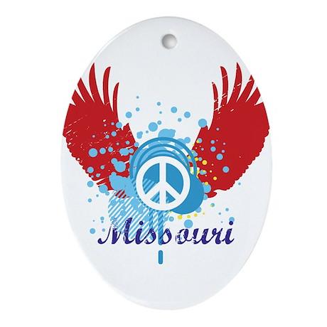 Missouri Peace Oval Ornament