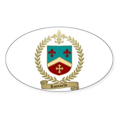 ROUSSELLE Family Crest Oval Decal