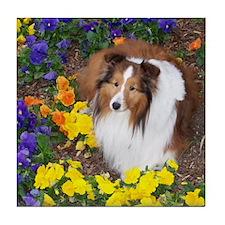 Sheltie Flowers Tile Coaster