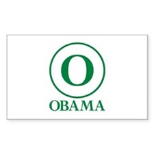 Green O Obama Rectangle Decal