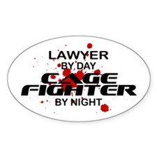 Lawyer Cage Fighter by Night Oval Decal