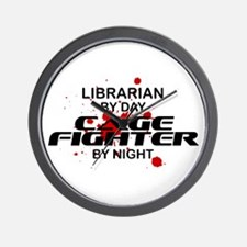 Librarian Cage Fighter by Night Wall Clock