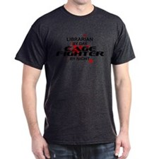 Librarian Cage Fighter by Night T-Shirt