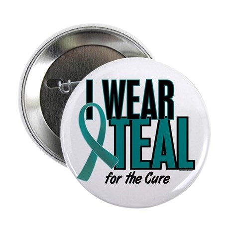 """I Wear Teal For The Cure 10 2.25"""" Button"""