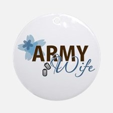 Blue & Brown ARMY WIFE Ornament (Round)