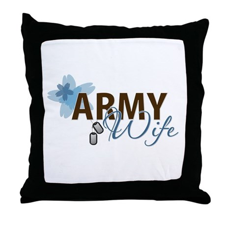 Blue & Brown ARMY WIFE Throw Pillow