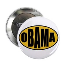 """Gold Oval Obama 2.25"""" Button"""