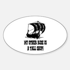 VIKING TALL SHIP Oval Decal