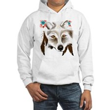 White Wolf Face Hoodie