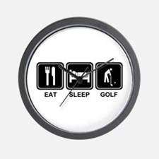 EAT SLEEP GOLF Wall Clock