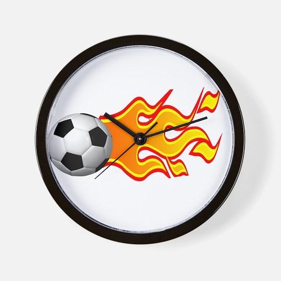 Flaming Baseball Wall Clock