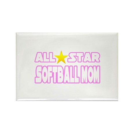 """All Star Softball Mom"" Rectangle Magnet"