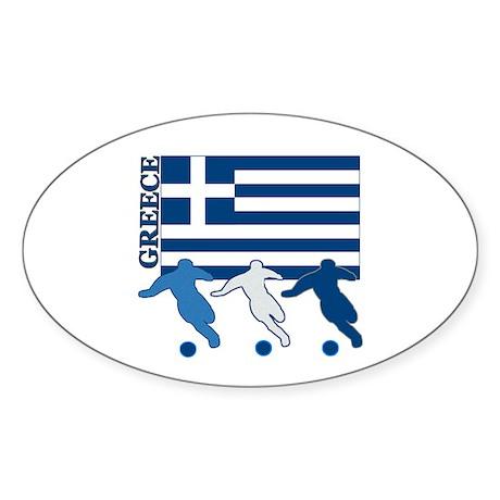 Soccer Greece Oval Sticker (10 pk)