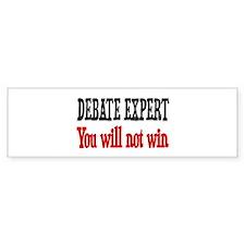 Debate Expert will not win Bumper Car Sticker