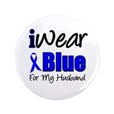 """I Wear Blue For My Husband 3.5"""" Button"""