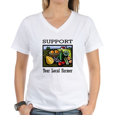 Support Your Local Farmer Women's V-Neck T-Shirt