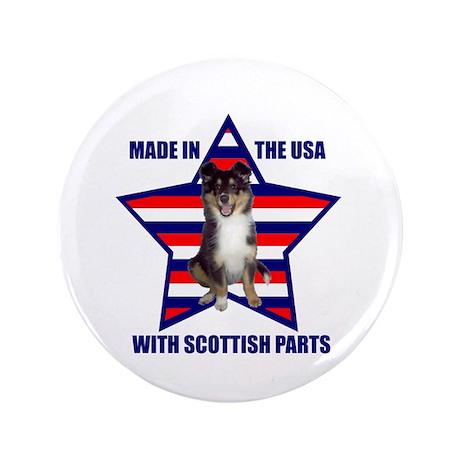 """Patriotic Sheltie 3.5"""" Button"""