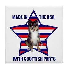 Patriotic Sheltie Tile Coaster