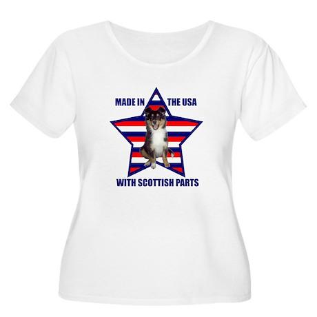Patriotic Sheltie Women's Plus Size Scoop Neck T-S