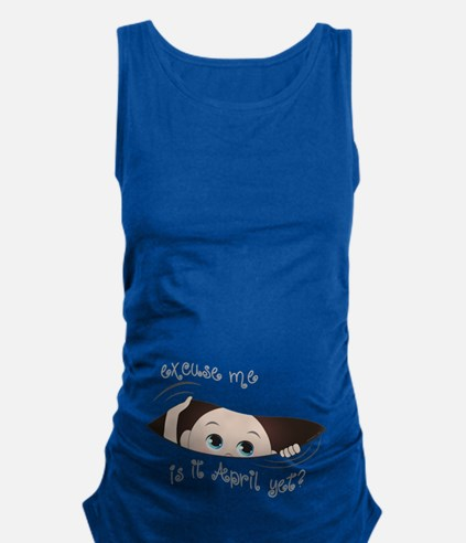 Funny Peeking Out Baby April Maternity Tank Top