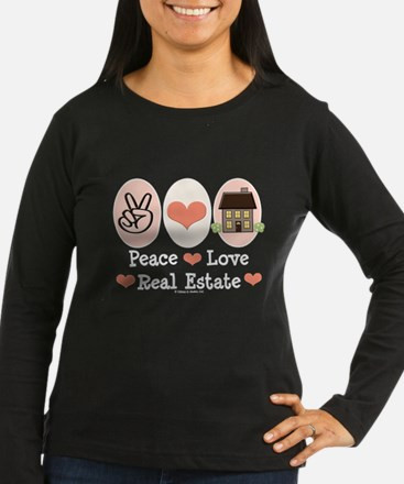 Peace Love Real Estate Agent Long Sleeve Tee Shirt