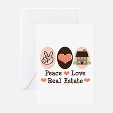 Peace Love Real Estate Agent Greeting Cards 10 Pk