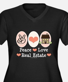 Peace Love Real Estate Women's Plus Size V-Neck Da