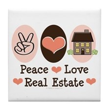Peace Love Real Estate Agent Tile Coaster