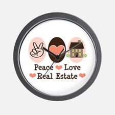 Peace Love Real Estate Agent Wall Clock