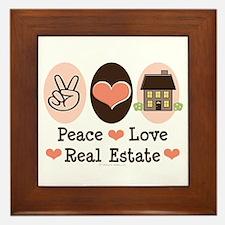 Peace Love Real Estate Agent Framed Tile