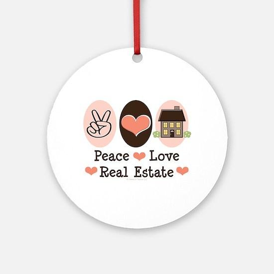 Peace Love Real Estate Agent Ornament (Round)