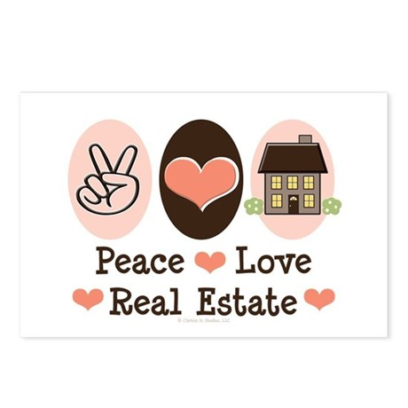 Peace Love Real Estate Agent Postcards 8 Pack