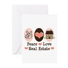 Peace Love Real Estate Agent Greeting Cards 20 Pk