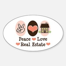 Peace Love Real Estate Agent Oval Decal