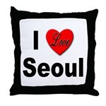 I Love Seoul South Korea Throw Pillow