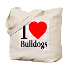 I Love Bulldogs Tote Bag