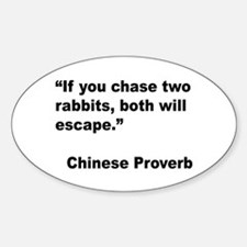 Chinese Rabbit Proverb Oval Decal