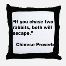 Chinese Rabbit Proverb Throw Pillow