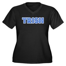 Retro Trish (Blue) Women's Plus Size V-Neck Dark T