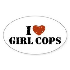 I Love Girl Cops Oval Decal